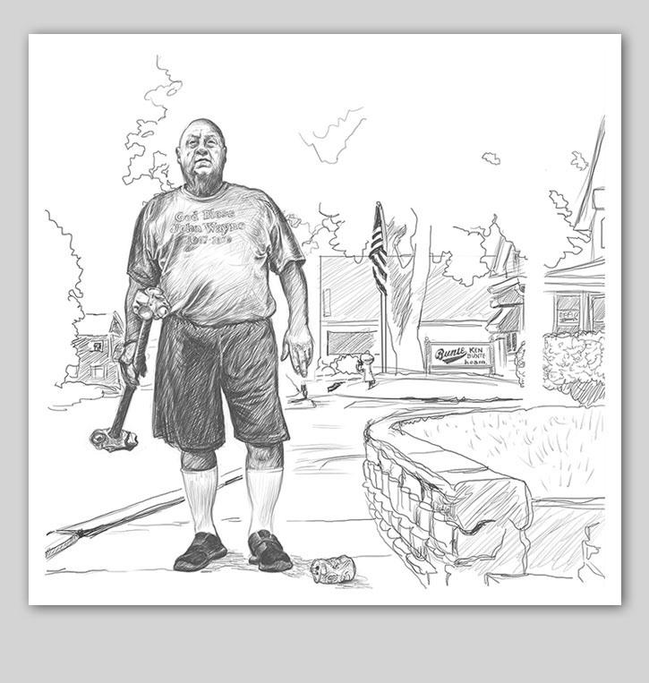 god bless john wayne rough drawing