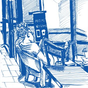 Woman Reading at Starbucks Journal Sketch